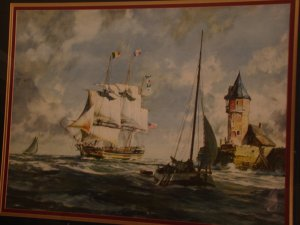 1800  SHIP IN BAY      ( LITOGRAPH)  Large and Nice.