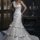 FW323 Hot Selling One-shoulder Mermaid Satin Wedding Gown