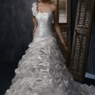 FW325 Hot Selling One-shoulder A-line Satin Wedding Gown