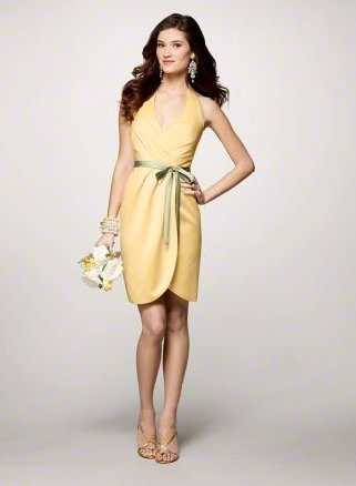 FB0002 Halter A-line Knee-length Satin Bridesmaid Dress