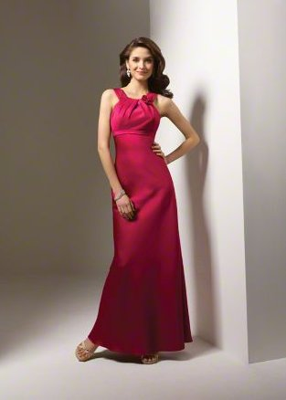 FB0019 Halter Mermad Floor-length Satin Bridesmaid Dress
