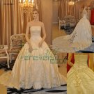 R0002 Real Sample A-line Strapless Satin Bridal Gowns
