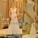 Real Sample A-line Halter Chiffon Bridal Gowns