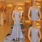 V-neck Taffeta Mermaid Lace with Beaded Evening Dresses