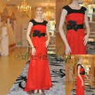 Elegant Short Sleeve Chiffon Red and Black Eveing Dresses