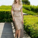 V0092 Free Shipping Sheath Knee-lenght Satin with Beaded Lace Mother Dresses 2012