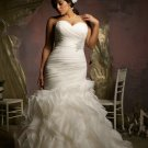 V0126 Custom Made Mermaid Sweetheart Rushed Ivory Plus Size Wedding Dresses