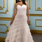 V0131 Beautiful Sweetheart A-line Chiffon Ruffles Plus Size Wedding Gowns