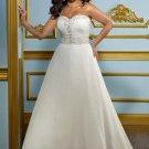 V0136 Custom Made Organza Sweep Train Plus Size Sweetheart Ivory  Wedding Dresses