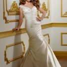 V0142 Free Shipping V-neck Cap Sleeves Mermaid Bridal Gowns 2012