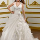 V0153 Top Sale Spaghetti Straps V-neck Ball Gowns Organza Wedding Dresses
