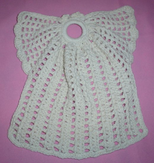 White Cotton Crocheted Faucet Angel Dishcloth