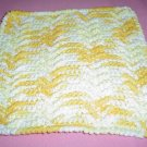 Yellow and White Crocheted Dishcloth