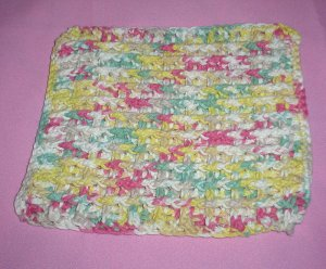 Yellow, Sage, Pink, Tan and White Crocheted Dishcloth