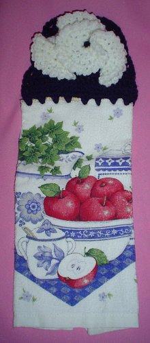 Crocheted Hanging Buttonless Dishtowel Apple