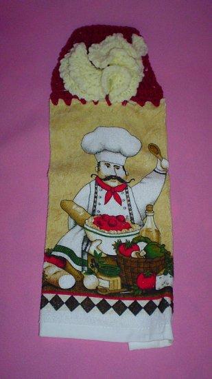 Crocheted Hanging Buttonless Dishtowel Italian