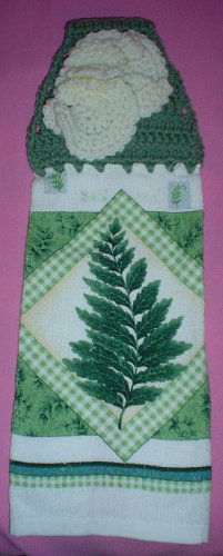 Crocheted Hanging Buttonless Dishtowel Fern