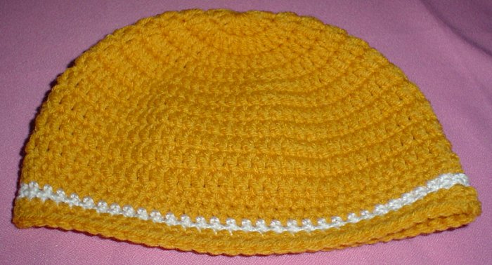Boys Mustard with White Stripe Beanie Hat