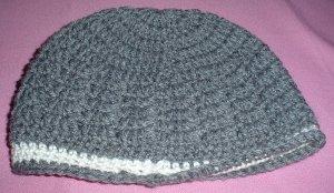 Boys Grey with White Stripe Beanie Hat