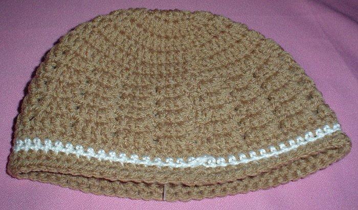 Boys Tan with White Stripe Beanie Hat