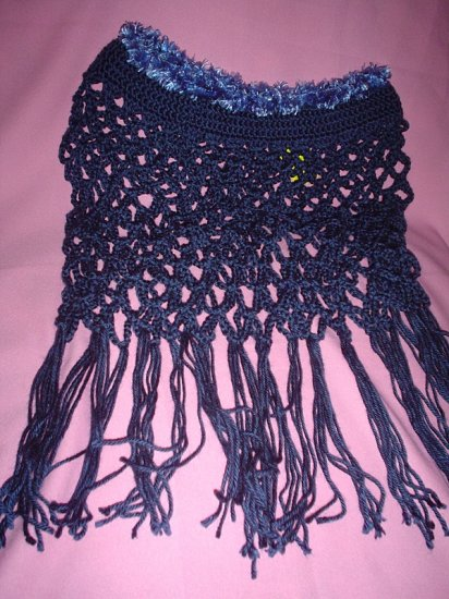 Navy Lacey Girls Poncho with Fur