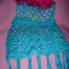 Lacey Teal Poncho for Girl with fur
