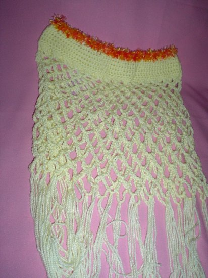 Lacey Yellow Poncho for Girl with fur