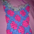 Granny Square Beach Bag Pink and Blue with fur