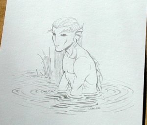 Wizards of the Coast Original ART #12 Water Fairy NICE!