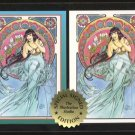 Signed Steve Woron 2 BETTY PAGE Mucha Cards Screwdown