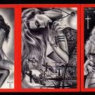 SIGNED! Paresi VAMPIRES & VIXENS RED 3 card PROMO Set~!