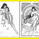 Steve Woron BETTY PAGE~Vargas & Mucha style ART+Bonuses