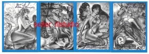 SIGNED! Don Paresi VAMPIRES & VIXENS BLUE 4 card PROMO Set!