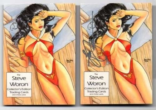 Steve Woron Female Fantasy VAMPIRELLA #1 SIGNED trading cards~ Lot of 2 Cards!