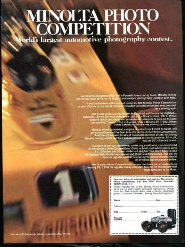 Vintage MINOLTA PHOTO COMPETITION, 1973 Advertisement +FREE Ad!