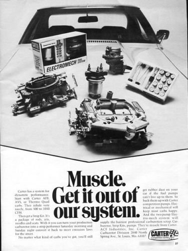 Vintage CARTER PERFORMANCE Racing Hot Rod Systems 1973 Advertisement +FREE Ad!
