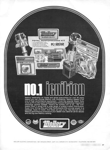 Vintage MALLORY IGNITION Racing Hot Rod Systems 1973 Advertisement +FREE Ad!