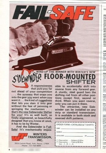 Vintage SIDEWINDER Winters Transmission 1973 Advertisement +Bonus Ad FREE!
