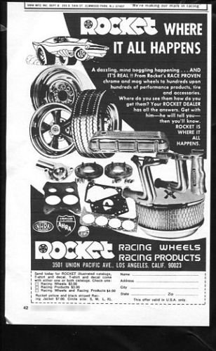 Vintage ROCKET RACING WHEELS 1973 Advertisement Los Angeles CA, +Bonus Ad FREE!