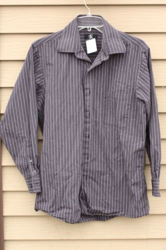 Men's CALVIN KLEIN Medium Dark Grey and Black striped 15.5 (32/33) Shirt