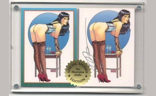 Autographed Steve Woron 2 Betty Page Bettie Page Cards in Screwdown Holder