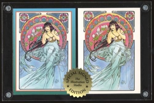 SIGNED Steve Woron 2 BETTY PAGE in Mucha style STUNNING Trading Cards Screwdown