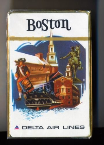 Vintage 1960s Delta Air Lines Playing Cards Pack BOSTON *sealed*