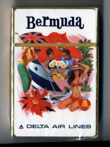 Vintage 1960s Delta Air Lines Playing Cards Pack BERMUDA *sealed*