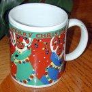 """""""MERRY CHRISTMAS"""" Reindeer with Lights in antlers Snowing art MUG"""