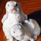 Cold Cast Porcelin 2 BUNNIES Figurines-Clean Cute-Detailed