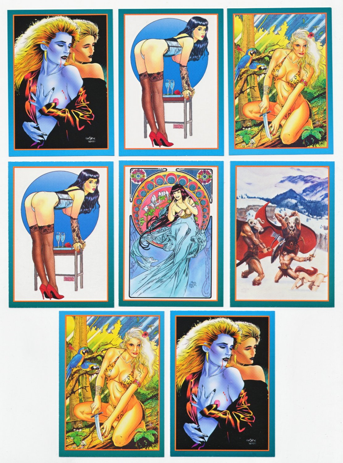 2 Lot~Steve Woron Female Fantasy SIGNED Promo Card Sets 1 & 2 Betty Page& Sheena