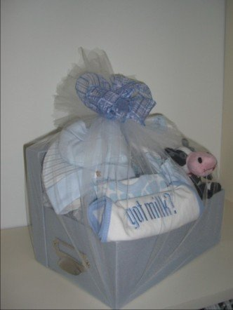 Baby Gift Basket 10 pc 'Got Milk' - Boys