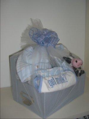 Baby Gift Basket 10 pc 'Got Milk' - Boys
