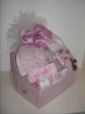 Baby Gift Basket 10 pc 'Got Milk' - Girls